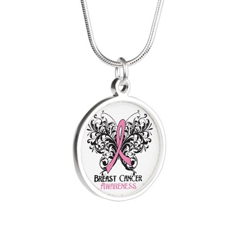 Butterfly Breast Cancer Awareness Silver Round Nec