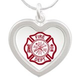 Fire Dept Silver Heart Necklace
