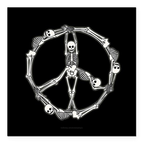 "Peace Skeletons Square Car Magnet 3"" x 3"""