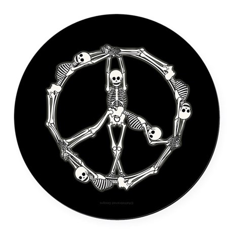 Peace Skeletons Round Car Magnet