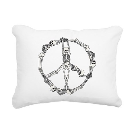 Peace Skeletons Rectangular Canvas Pillow