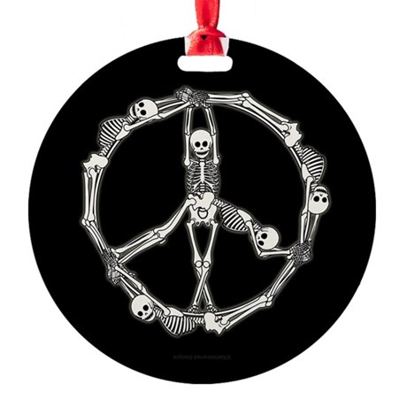 Peace Skeletons Round Ornament