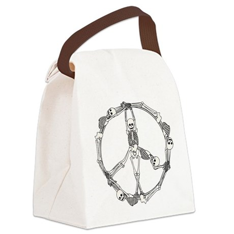 Peace Skeletons Canvas Lunch Bag