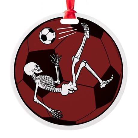Soccer Skeleton Round Ornament