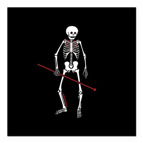 "Hunting Skeleton Square Car Magnet 3"" x 3"""