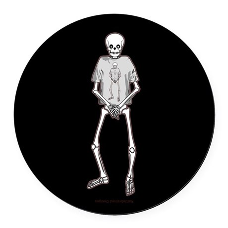 T-Shirt Skeleton Round Car Magnet