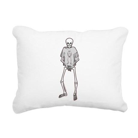 T-Shirt Skeleton Rectangular Canvas Pillow