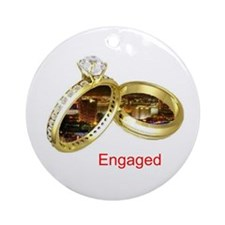 Engaged in Las Vegas Rings Ornament (Round)