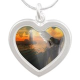 Lighthouse With Praying Angel Silver Heart Necklac