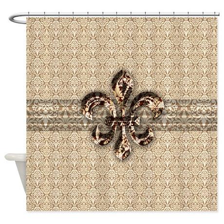 Golden Damask Fleur De Lis Shower Curtain by doodles_design