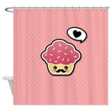Kawaii Cupcake with Mustache Shower Curtain