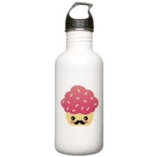 Kawaii Cupcake with Mustache Water Bottle