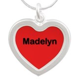 Madelyn Red Silver Heart Necklace