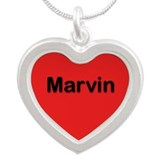 Marvin Red Silver Heart Necklace