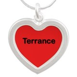 Terrance Red Silver Heart Necklace