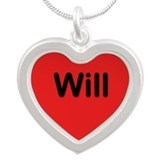 Will Red Silver Heart Necklace