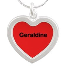 Geraldine Red Silver Heart Necklace