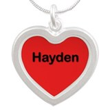 Hayden Red Silver Heart Necklace