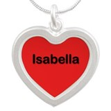 Isabella Red Silver Heart Necklace