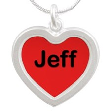 Jeff Red Silver Heart Necklace