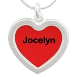 Jocelyn Red Silver Heart Necklace