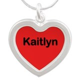Kaitlyn Red Silver Heart Necklace