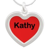 Kathy Red Silver Heart Necklace