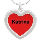 Katrina Red Silver Heart Necklace