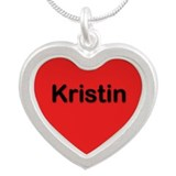 Kristin Red Silver Heart Necklace