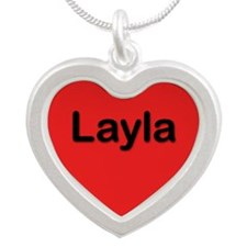Layla Red Silver Heart Necklace