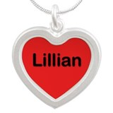 Lillian Red Silver Heart Necklace