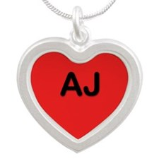 AJ Red Silver Heart Necklace