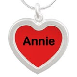 Annie Red Silver Heart Necklace