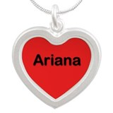 Ariana Red Silver Heart Necklace