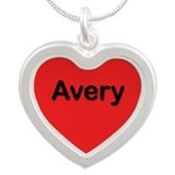 Avery Red Silver Heart Necklace