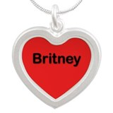 Britney Red Silver Heart Necklace