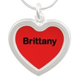 Brittany Red Silver Heart Necklace
