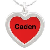 Caden Red Silver Heart Necklace