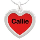 Callie Red Silver Heart Necklace