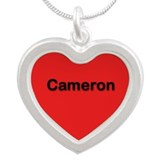 Cameron Red Silver Heart Necklace