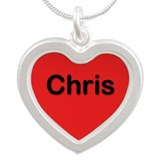 Chris Red Silver Heart Necklace