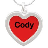 Cody Red Silver Heart Necklace
