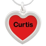 Curtis Red Silver Heart Necklace