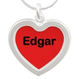 Edgar Red Silver Heart Necklace