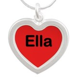 Ella Red Silver Heart Necklace