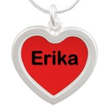 Erika Red Silver Heart Necklace
