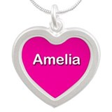 Amelia Pink Silver Heart Necklace