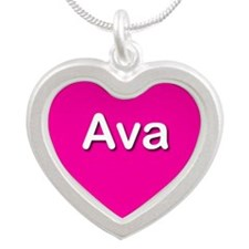 Ava Pink Silver Heart Necklace