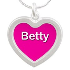 Betty Pink Silver Heart Necklace