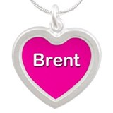 Brent Pink Silver Heart Necklace